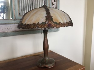 SKU26 Signed Moe Bridges slag glass lamp for sale Circa 1920's 6 panels